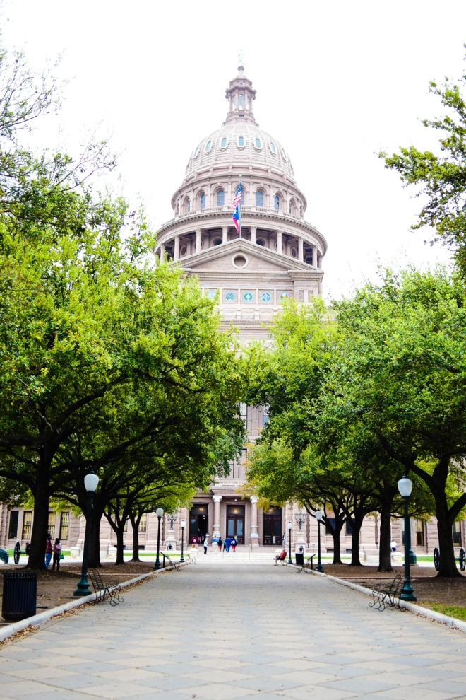 walkway up to the Texas capitol building in Austin