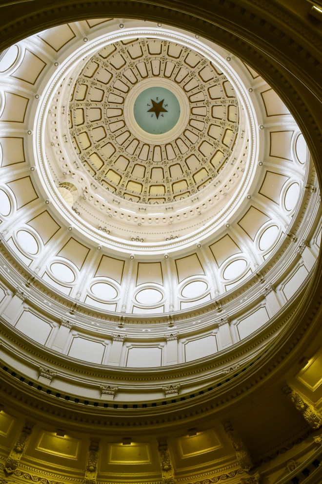 star in the dome of the Texas capitol building in Austin