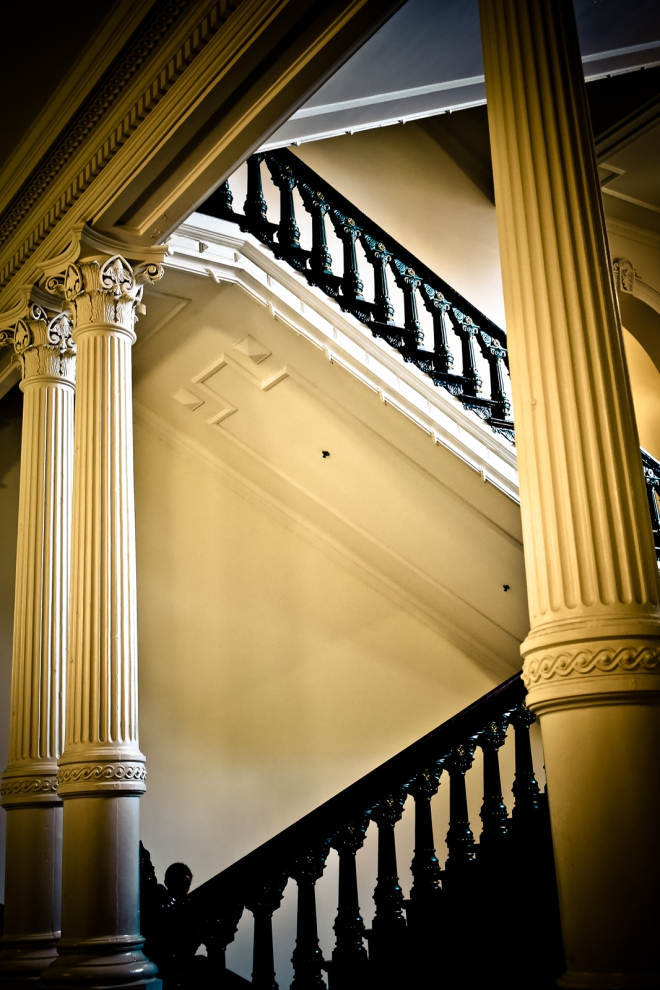 staircase at the Texas state capitol in Austin